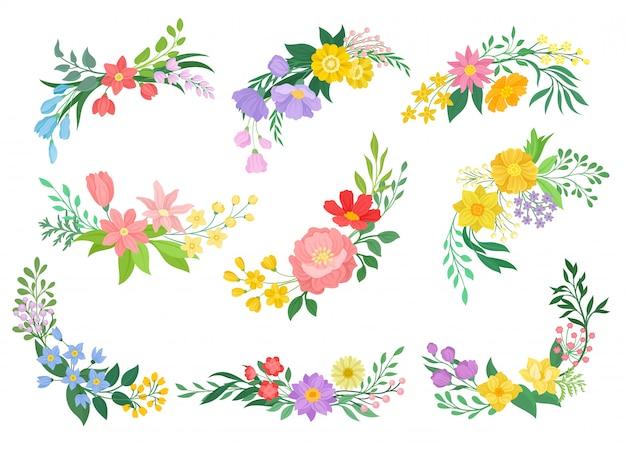 Raccolta di fiori su sfondo bianco. concetto di primavera. Vettore Premium