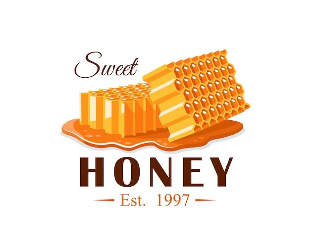 Flussi di miele con favo su sfondo bianco. etichetta di miele, logo, concetto di emblema. illustrazione Vettore Premium