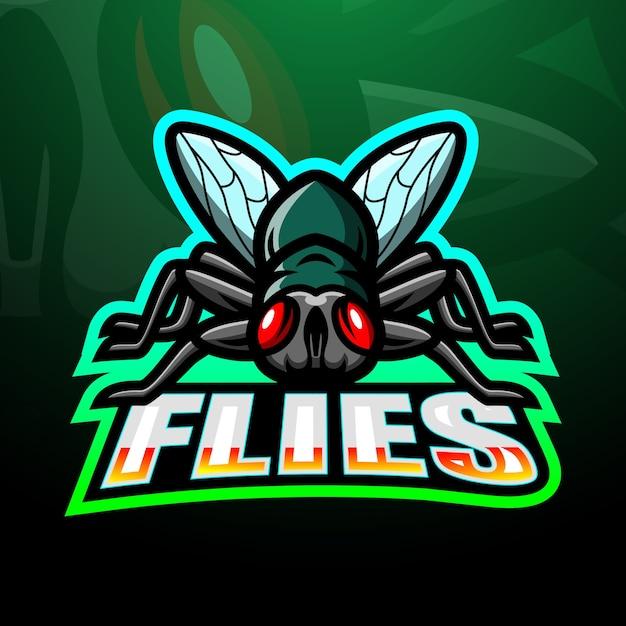 Fly mascotte esport illustrazione Vettore Premium