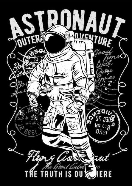 Astronauta volante, poster di illustrazione d'epoca. Vettore Premium