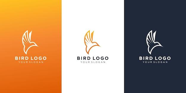 Design semplice logo uccello volante Vettore Premium