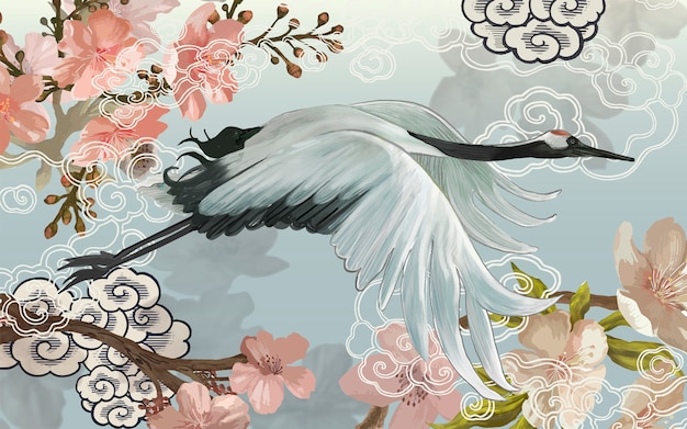 Volare elegante gru giapponese bianca Vettore Premium