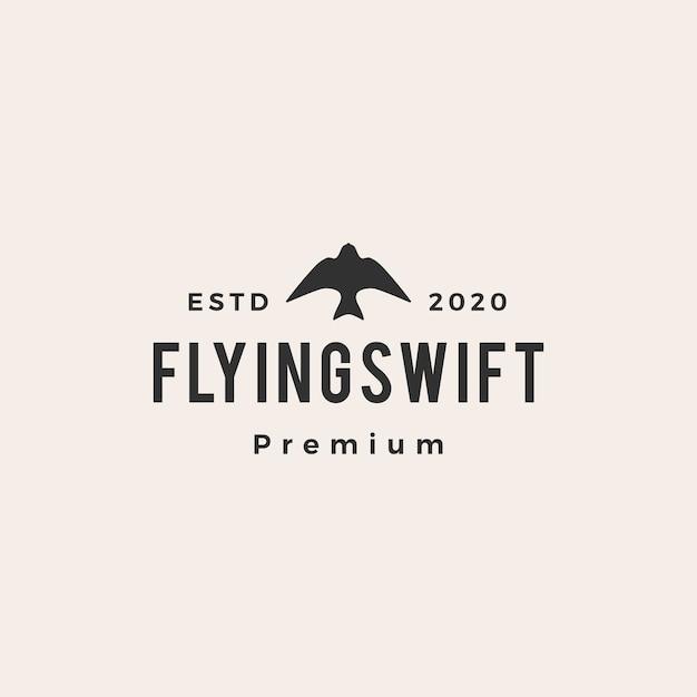 Logo vintage uccello veloce volante Vettore Premium