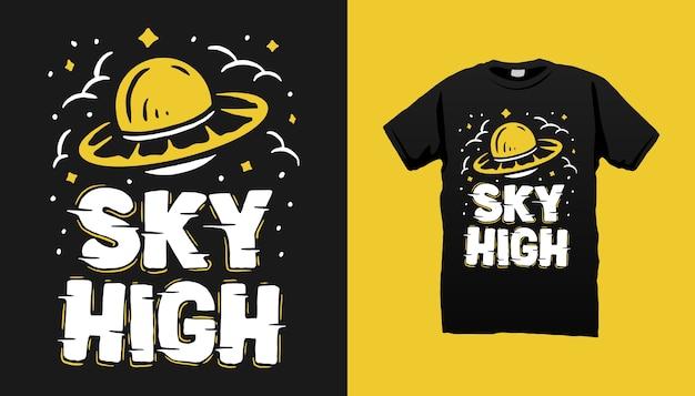Flying ufo tshirt design Vettore Premium