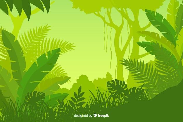 Fogliame del paesaggio della foresta tropicale Vettore Premium