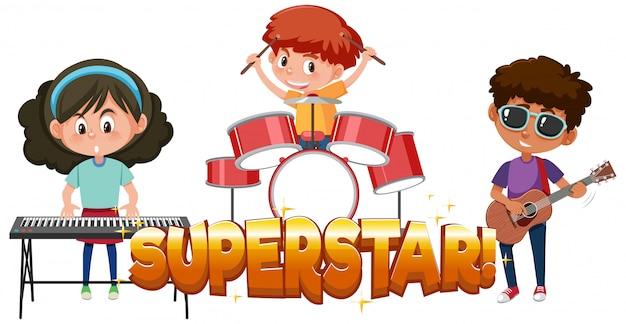 Design dei caratteri per la parola superstar con i bambini della band Vettore Premium