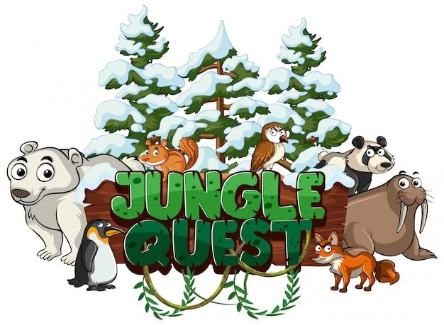 Carattere per la ricerca della giungla di parole con animali in inverno Vettore Premium