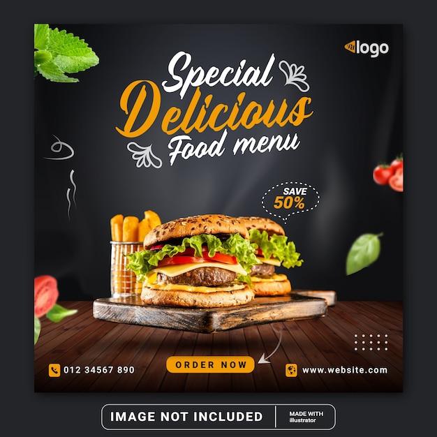 Hamburger di cibo social media instagram post banner modello o volantino quadrato Vettore Premium