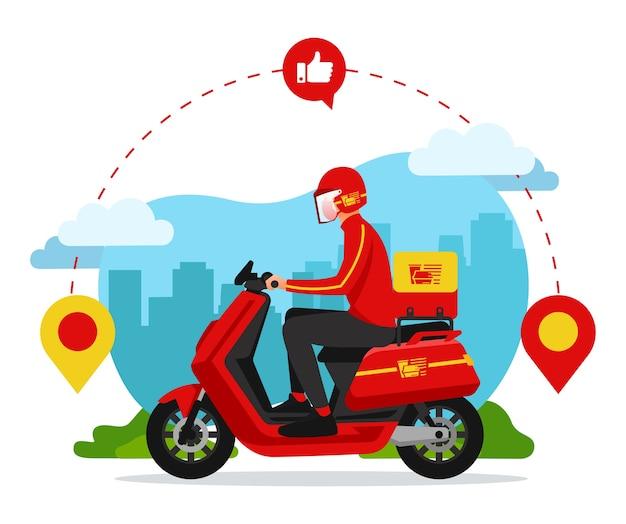 L'addetto alla consegna del cibo sta andando a casa del cliente per consegnare il cibo Vettore Premium