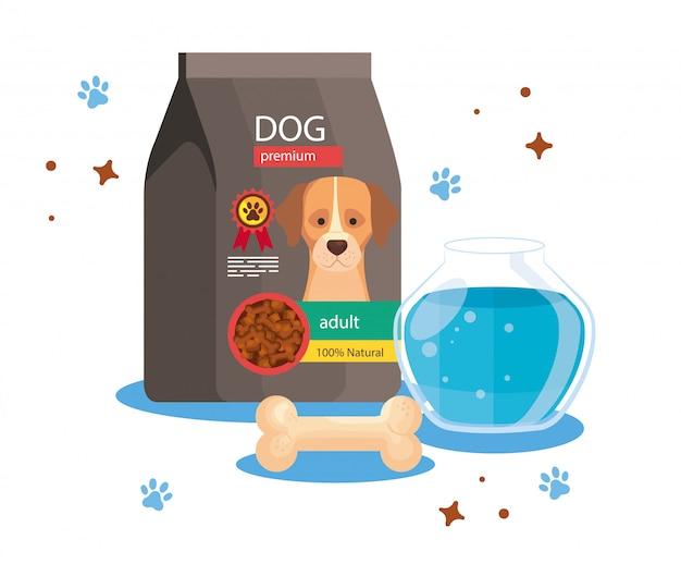 Alimento per cane in busta con ciotola di pesce rotonda in vetro e osso Vettore Premium