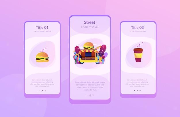 Modello di interfaccia app food festival. Vettore Premium