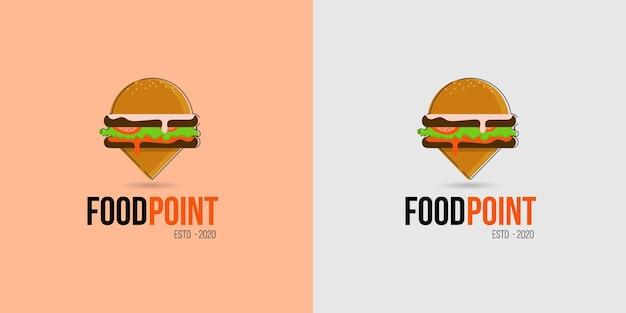 Icona del logo della posizione del cibo per negozi di alimentari, camion di cibo e attività di carrelli a piedi Vettore Premium
