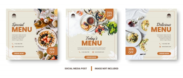 Post di social media banner menu cibo. Vettore Premium