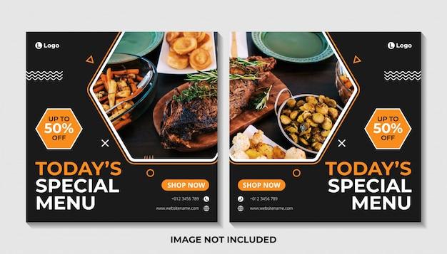 Modello di banner post social media menu cibo Vettore Premium