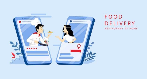 Ordine di cibo online e concetto di consegna. Vettore Premium