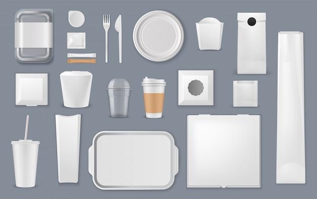 Scatole per alimenti, sacchetti e modelli di tazze Vettore Premium