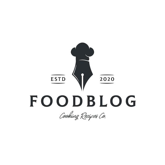 Modello logo blog di ricette alimentari Vettore Premium