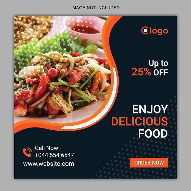 Modello di post di instagram di social media alimentari Vettore Premium