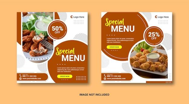 Modello di post sui social media alimentari Vettore Premium