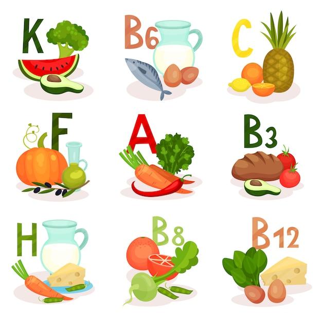 Fonti alimentari di diverse vitamine. tema di alimentazione e dieta sana. per poster infografici o app mobili Vettore Premium