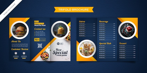 Modello di menu brochure a tre ante cibo. Vettore Premium