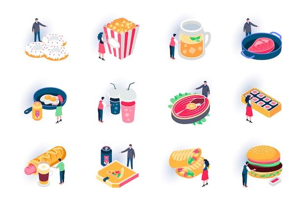 Set di icone isometriche alimentari. menu degli alimenti a rapida preparazione del ristorante, illustrazione piana del pasto delizioso asportabile. hot dog, ciambelle, sushi, hamburger e bistecca pittogrammi isometrici 3d con personaggi di persone. Vettore Premium