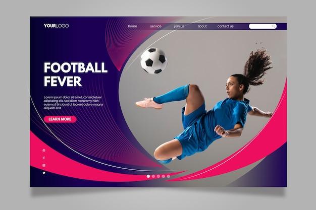 Pagina di destinazione della febbre del calcio Vettore Premium