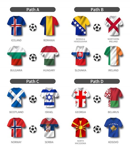 Maglia da calcio con set bandiera sventolante paese Vettore Premium