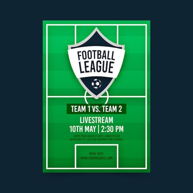 Modello di manifesto della partita di calcio Vettore Premium