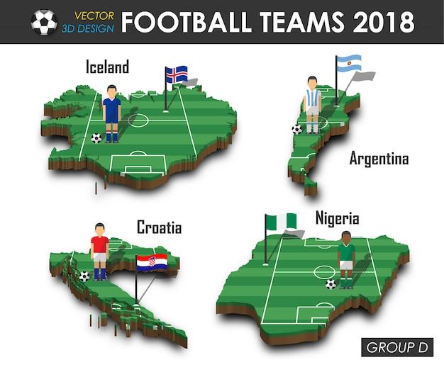 Giocatore di football americano e bandiera sulla mappa del paese di progettazione 3d. Vettore Premium