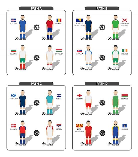 Giocatore di gioco del calcio con divisa in jersey e set bandiera Vettore Premium