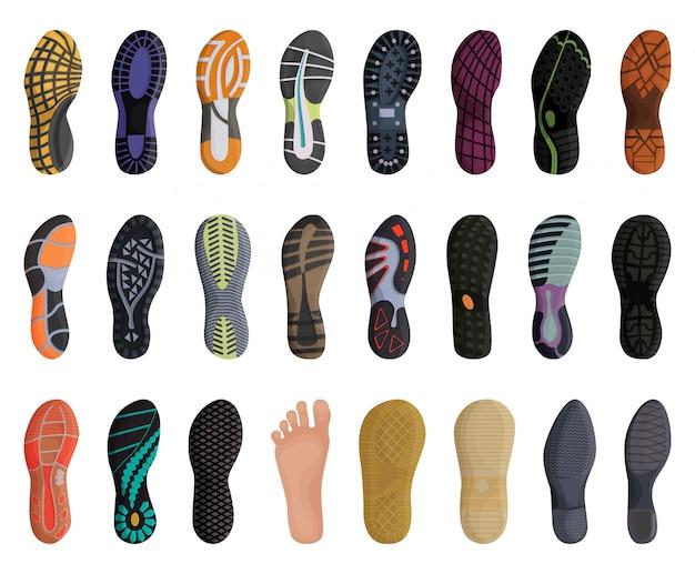 Icona stabilita del fumetto della scarpa di impronta. illustrazione suola su sfondo bianco. fumetto isolato imposta scarpa impronta icone. Vettore Premium