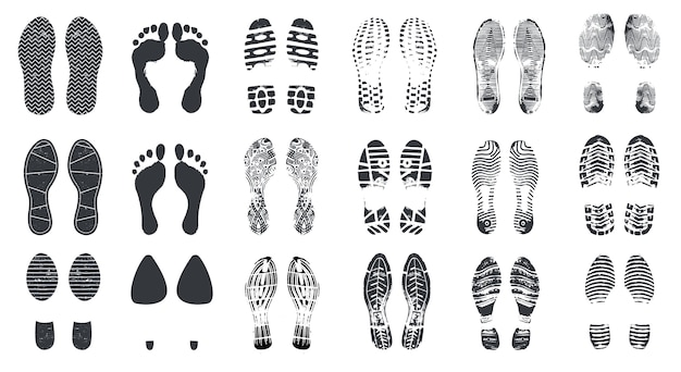 Sagome di impronta. passi a piedi nudi, scarpe da ginnastica e scarpe con trama sporca. impronte di scarponi da passeggio, impronte di piedi vettore isolato insieme Vettore Premium