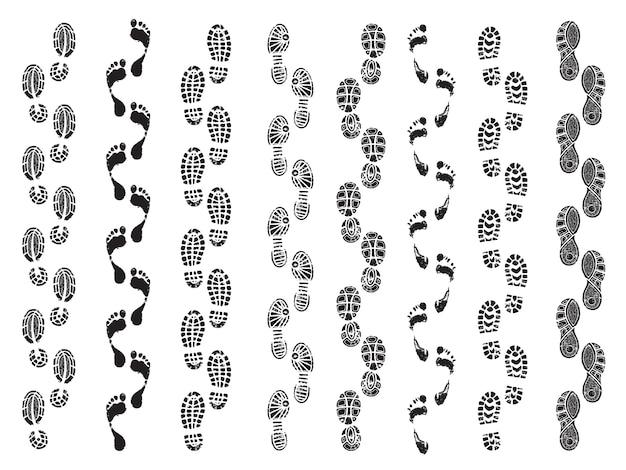 Forme di impronte. direzione del movimento di scarpe da uomo stivali camminando impronte vettoriali sagome Vettore Premium