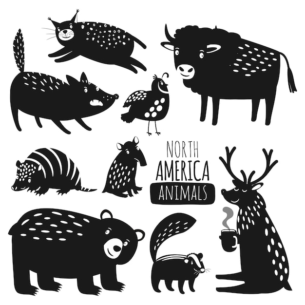 Siluette degli animali americani della foresta Vettore Premium