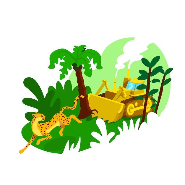 Banner web 2d di distruzione della foresta, poster. impatto umano sui boschi. danni industriali allo scenario piatto ambiente su priorità bassa del fumetto. patch stampabile di deforestazione, elemento web colorato Vettore Premium
