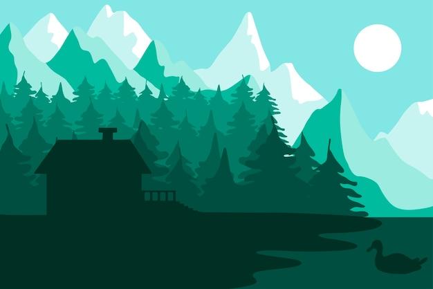 Casa forestale vicino alle montagne. foresta con fiume e paesaggio del parco. panorama al tramonto. scena naturale con lago e anatra. vettore Vettore Premium
