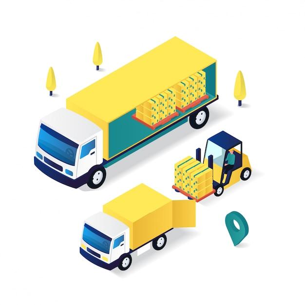 Illustrazione isometrica piana 3d di servizio di consegna delle merci del carrello elevatore a forcale Vettore Premium