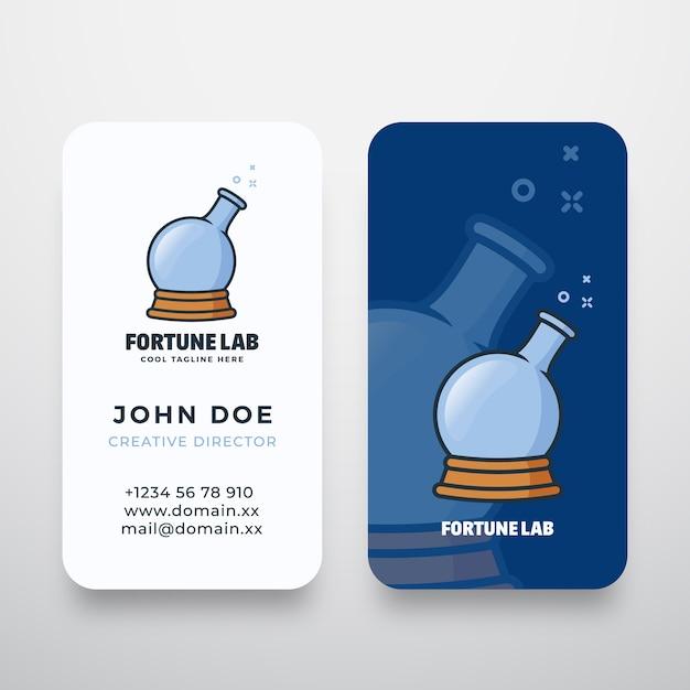 Logo astratto di fortune lab e biglietto da visita Vettore Premium