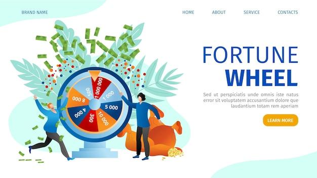 Ruota della fortuna al casinò online, le persone giocano al concetto di gioco d'azzardo Vettore Premium