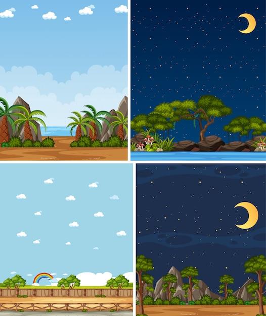 Quattro scene di natura diversa sullo sfondo con alberi verdi in tempi diversi Vettore Premium