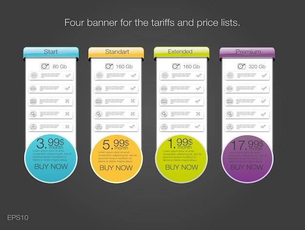 Quattro banner per le tariffe e listini prezzi. elementi web. pianifica l'hosting. Vettore Premium