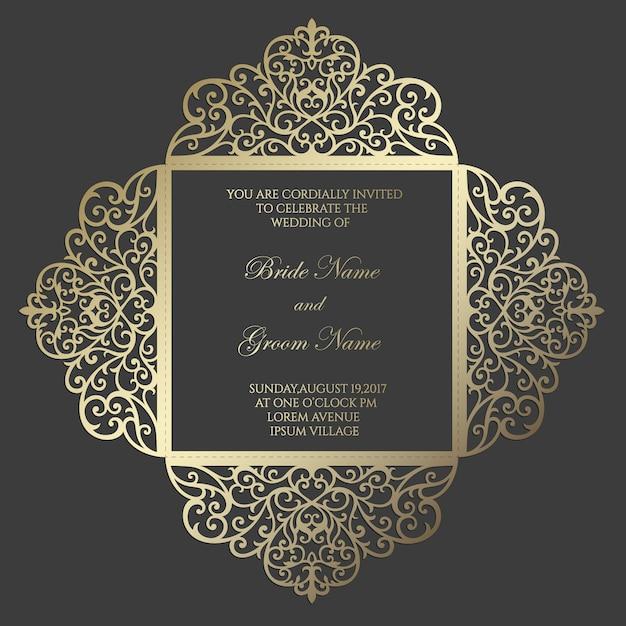 Modello di carta di invito a nozze taglio laser quadrato quattro volte. design per modello laser cut o die cut. matrimonio ornamentale invito mockup. Vettore Premium