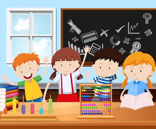 Quattro studenti in classe Vettore Premium