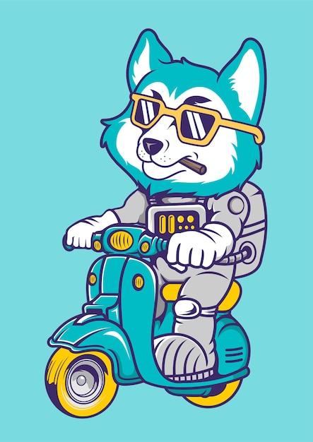 Illustrazione disegnata a mano di fox astronaut scooter Vettore Premium