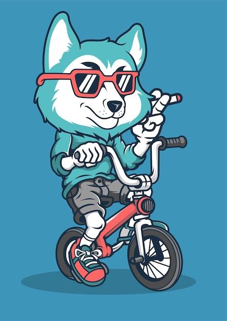 Illustrazione disegnata a mano di fox biker Vettore Premium