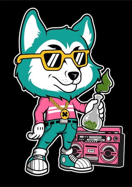 Illustrazione disegnata a mano di fox boombox Vettore Premium