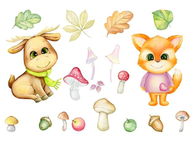 Volpe, alci, foglie autunnali, funghi, bacche. insieme dell'acquerello di piante e animali della foresta, in stile cartone animato, su uno sfondo isolato. Vettore Premium