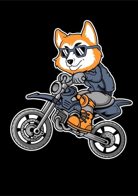 Illustrazione disegnata a mano di fox motocrosser Vettore Premium