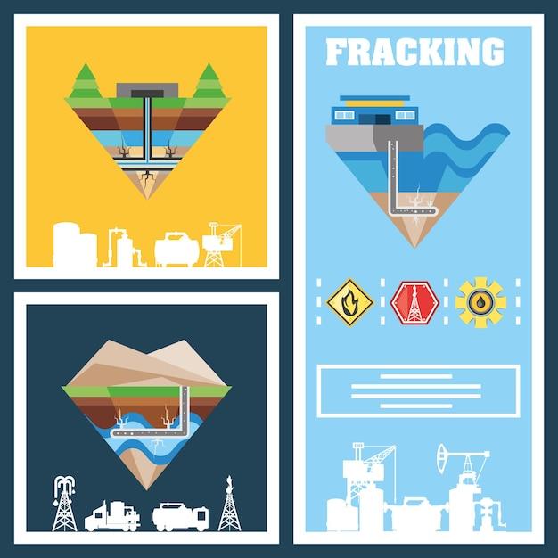 Processo di fracking con attrezzature per macchinari, illustrazione schematica di fratturazione idraulica Vettore Premium